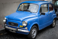 Vintage blue color fiat 600 Royalty Free Stock Photography