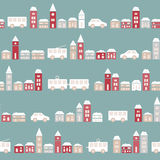 Vintage blue colorful town pattern Royalty Free Stock Photo
