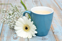 Vintage blue cup of coffee on a wooden background with white Gerbera daisy decoration Stock Photos