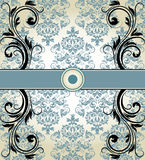 Vintage blue damask invitation card Royalty Free Stock Images