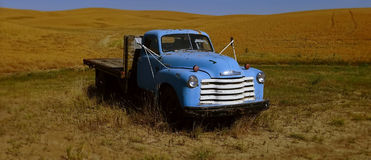 Vintage Blue Flatbed Truck royalty free stock photos