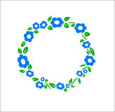 Vintage blue Flower ring frame decoration vector Stock Photo
