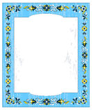 Vintage blue frame with flowers Stock Photos