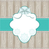 Vintage blue frame with wood background. And lace Stock Photos