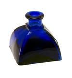 Vintage blue glass bottle isolated on white Stock Photos