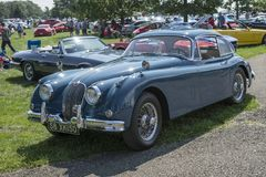 Vintage blue jaguar Stock Photos