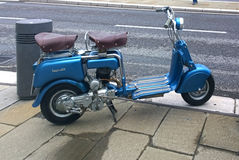 Vintage blue Lambretta scooter Royalty Free Stock Photos