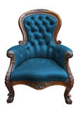 Vintage blue leather armchair with clipping path. Vintage blue leather armchair on white with clipping path Stock Photo