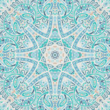 Vintage blue mandala background. Abstract mosaic tiles seamless pattern ornamental. Winter lace background. Doodle hand drawn pattern Stock Image