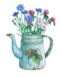 Vintage blue metal teapot with strawberries pattern and bouquet of wild flowers. Hand drawn watercolor painting on white background Royalty Free Stock Photos