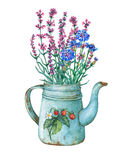Vintage blue metal teapot with strawberries pattern and bouquet of wild flowers. Hand drawn watercolor painting on white background Stock Images