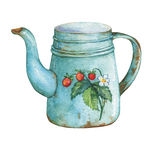 Vintage blue metal teapot with strawberries pattern. Hand drawn watercolor painting on white background Royalty Free Stock Photos