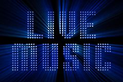 Vintage blue metallic live music word text with light reflex and. Blue rays effect on black background, concept of luxury music disco pop concert entertainment Royalty Free Stock Photo