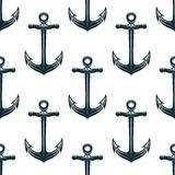 Vintage blue naval anchors seamless pattern Royalty Free Stock Photography