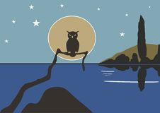 Vintage blue owl  on water with stars on sky. Stock Photo