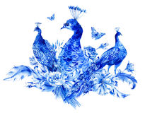 Vintage Blue Peacocks With Watercolor Roses Royalty Free Stock Images