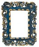 Vintage blue photo frame isolated on white background. Stock Photos