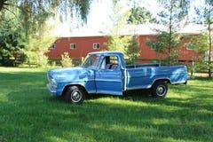 Vintage blue pickup truck royalty free stock image