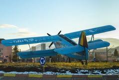 Vintage blue plane Stock Photo