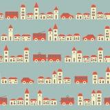 Vintage blue pretty town pattern Stock Image