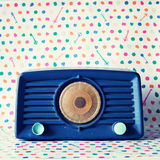 Vintage blue Radio stock images