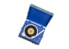 Vintage Blue Record Player Isolated Stock Photo
