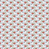Vintage Blue and Red Fan Background repeat wallpaper Royalty Free Stock Photos