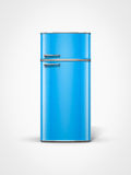 Vintage blue refrigerator. Old vintage retro blue refrigerator in front view Royalty Free Stock Image
