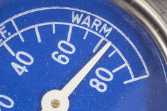 Vintage Blue Refrigerator Thermometer Macro Detail Stock Photo