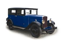 Vintage blue saloon car Royalty Free Stock Photography