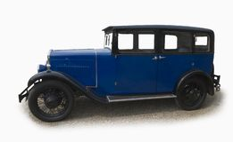Vintage blue saloon car Stock Images