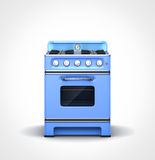 Vintage blue stove. Front view of retro vintage blue stove Royalty Free Stock Image