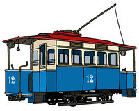 Vintage blue tramway. Hand drawing of a vintage blue tramway Stock Images