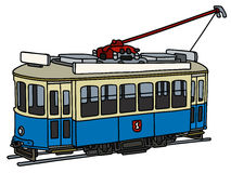 Vintage blue tramway. Hand drawing of a vintage blue and white electric tramway Stock Image