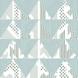 Vintage blue triangles. Seamless pattern with grunge effect Stock Photos