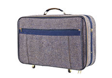 Vintage Blue Tweed Suitcase Isolated Stock Photography