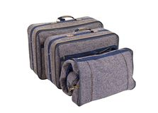 Vintage Blue Tweed Suitcase Set Isolated Royalty Free Stock Photos