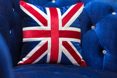 Vintage blue velvet sofa Royalty Free Stock Photos