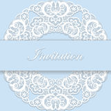 Vintage blue wedding invitation cover with lace de Royalty Free Stock Photo