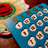 Vintage blue and white Bingo card. Stock Photos