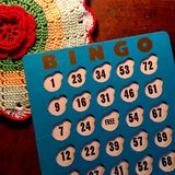 Vintage blue and white Bingo card. Royalty Free Stock Images