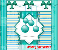 Vintage, blue, white, striped christmas card with Stock Photography