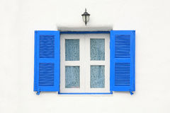 Vintage blue window and flower pattern curtain. Home decoration: vintage blue window and curtain with flower pattern Stock Images