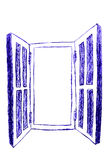 Vintage blue window, isolated on white Stock Images