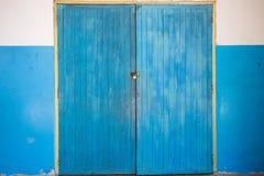 Vintage blue wood door Stock Photography
