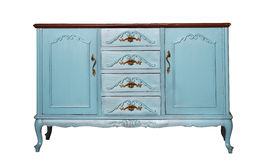 Vintage blue wooden dresser isolated on white Stock Photos