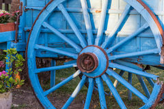 Vintage blue wooden wagon, closeup Stock Image