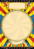 Vintage blue and yellow poster. A poster with a large circle frame for your advertising Royalty Free Stock Photo