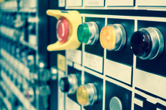 Vintage and blur tone of Electrical switchgear room,Industrial e. Lectrical switch panel on plant and process control with grainy style royalty free stock photo
