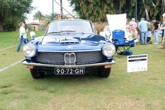 Vintage bmw sports car front. Vintage blue german sports car front view. 1967 BMW 1600 GT designed by Frua. outdoors 2012 Boca Raton event Royalty Free Stock Photo